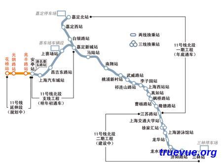 上海地铁11号线的线路图